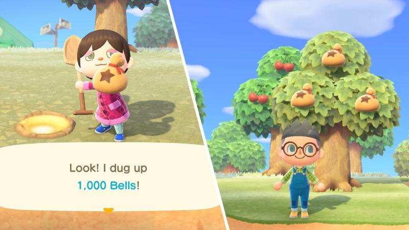 El árbol de bayas de Animal Crossing: New Horizons, dinero contante y sonante