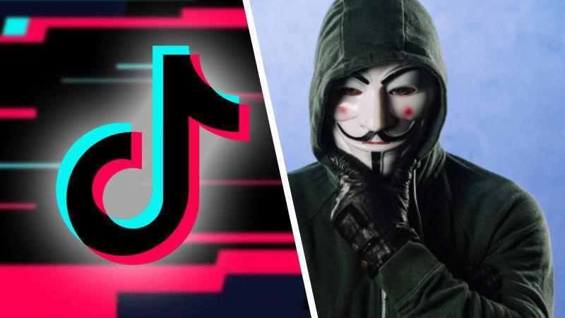 Logo de TikTok con el rostro de Anonymous