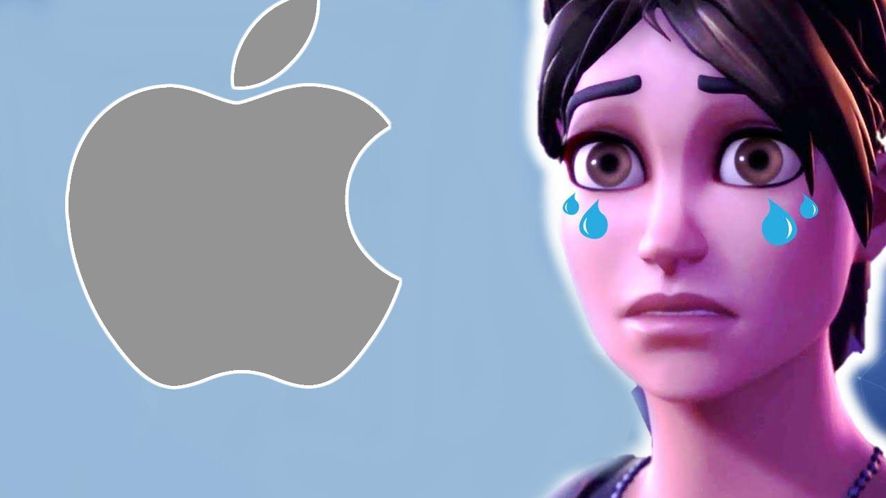 Fortnite triste con logo de apple