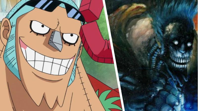 Franky de One Piece junto a un fanart aterrador