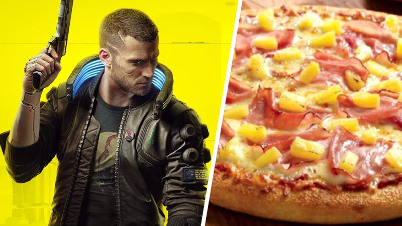 cyberpunk 2077, cyberpunk, cdpr, cd projekt red, pizza con piña, pizza