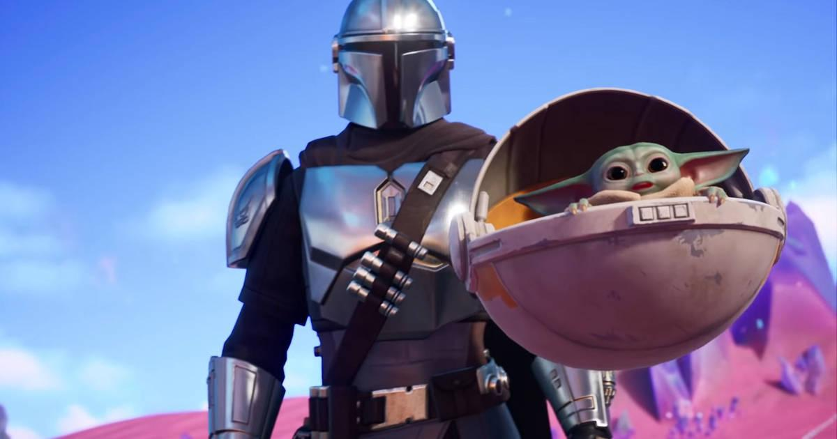 Imagen de The Mandalorian y Baby Yoda en Fortnite