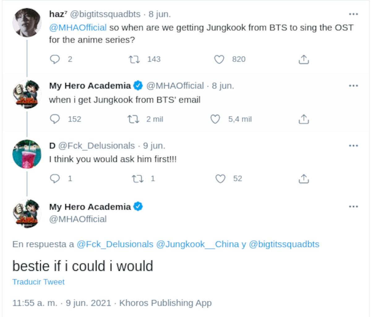 Piden que Jungkook de BTS cante la música de My Hero Academia