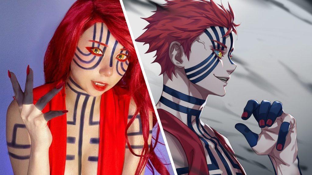 kimetsu no yaiba akaza fem cosplay idlesan