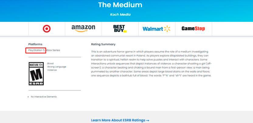 The Medium Xbox Series X PS5