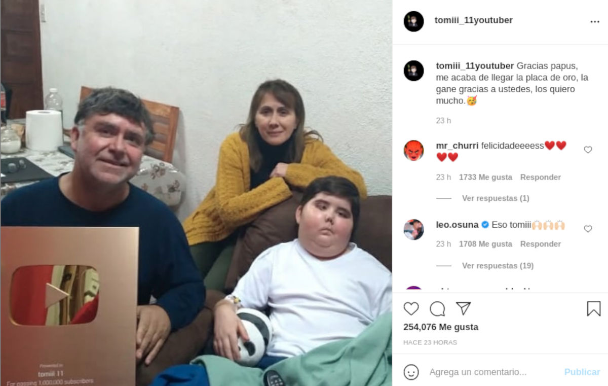 tomiii 11 recibe un nuevo reconocimiento de YouTube