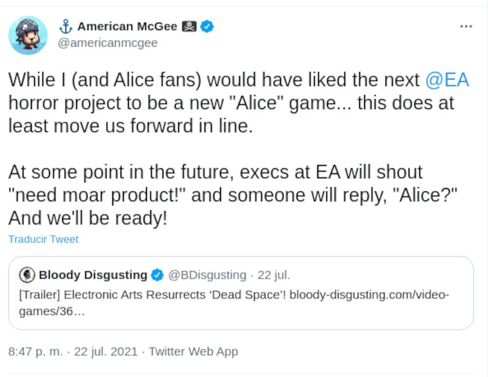 American McGee quiere que EA respalde otro juego de Alice