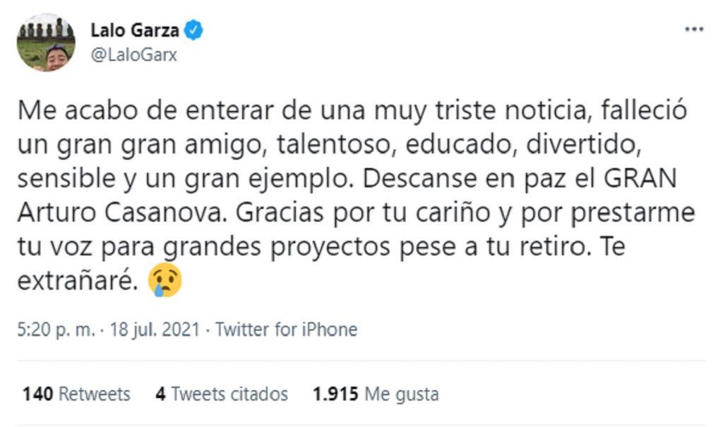 Arturo Casanova Tweet Eduardo Garza