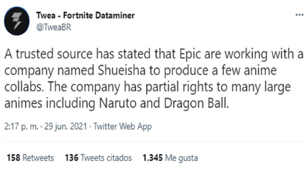 Fortnite colaboracion anime