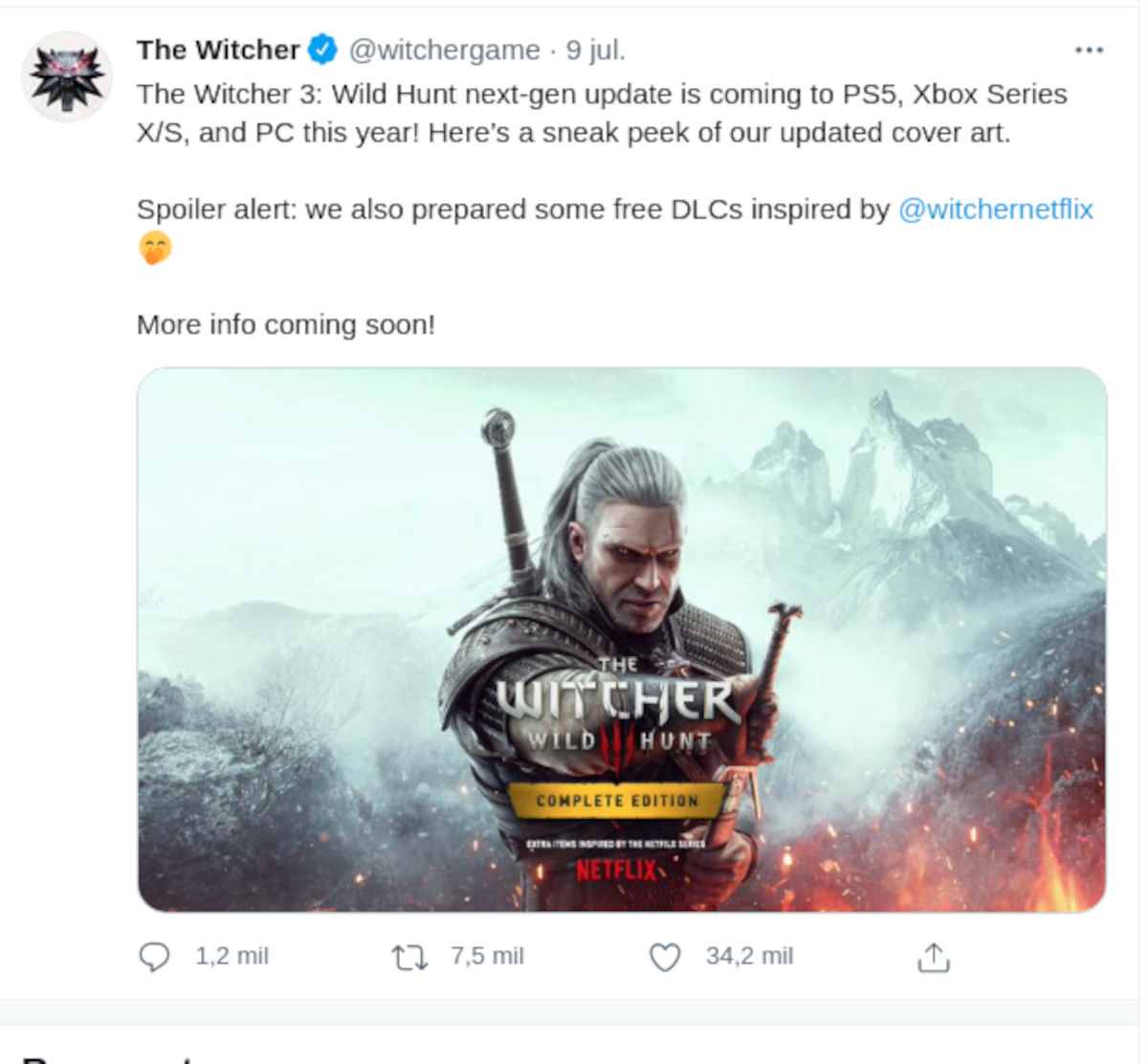 The Witcher 3: Wild Hunt Complete Edition tendrá a Henry Cavill