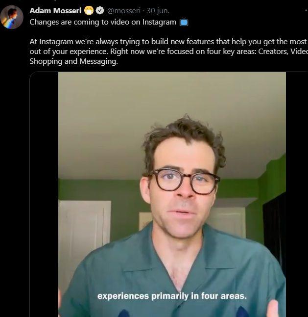 instagram adam mosseri cambios tiktok