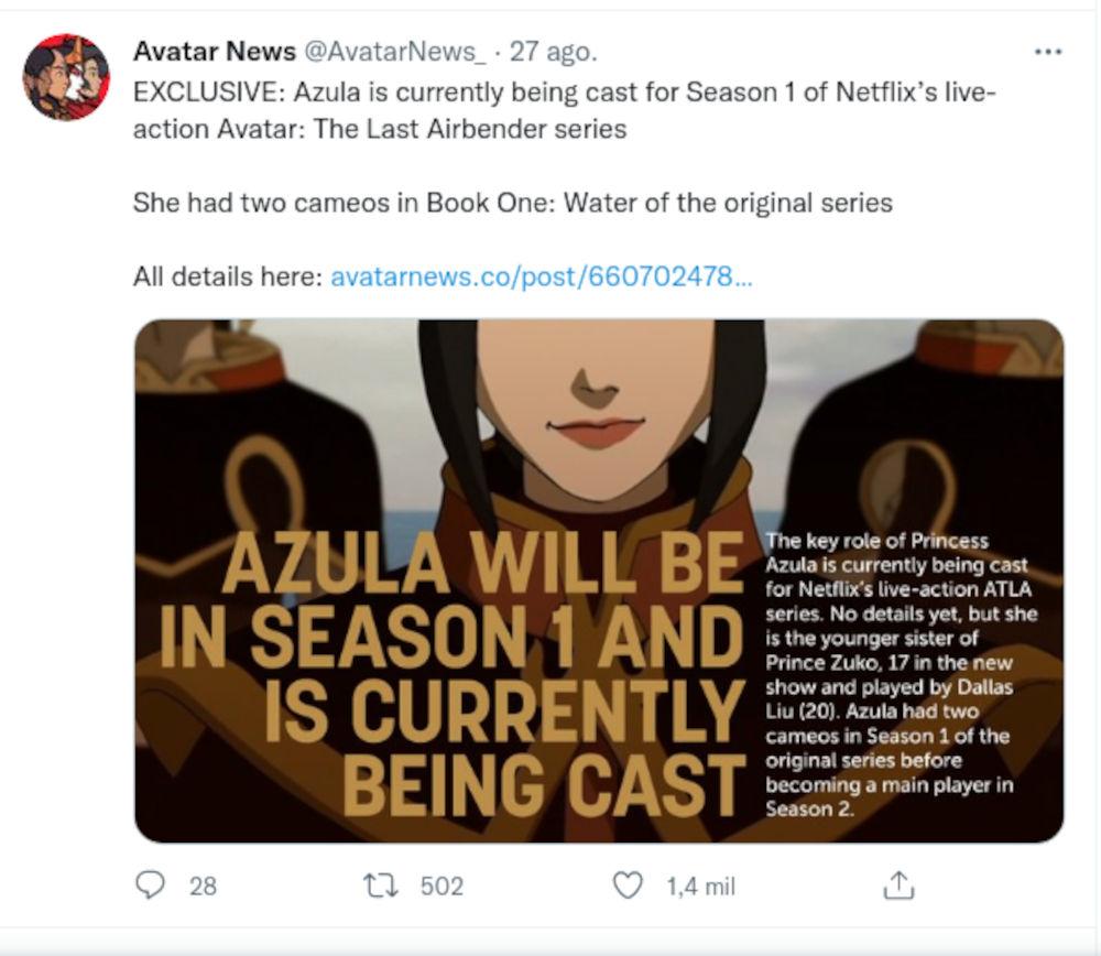 Azula estará en la primera temporada del live-action de Avatar: La leyenda de Aang