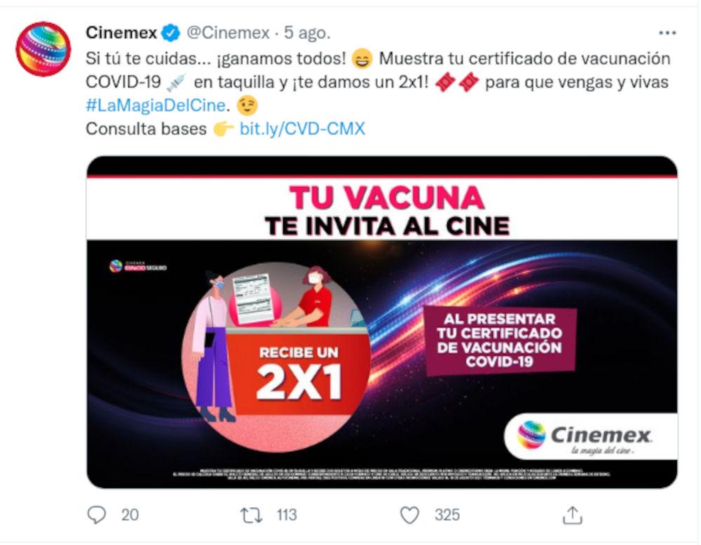 Si estás vacunado contra el COVID-19 haz el 2x1 en Cinemex