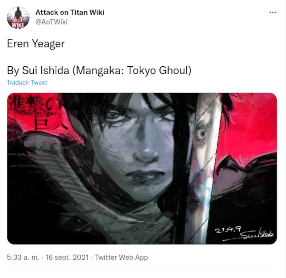 Creador de Tokyo Ghoul crea tributo a Shingeki no Kyojin