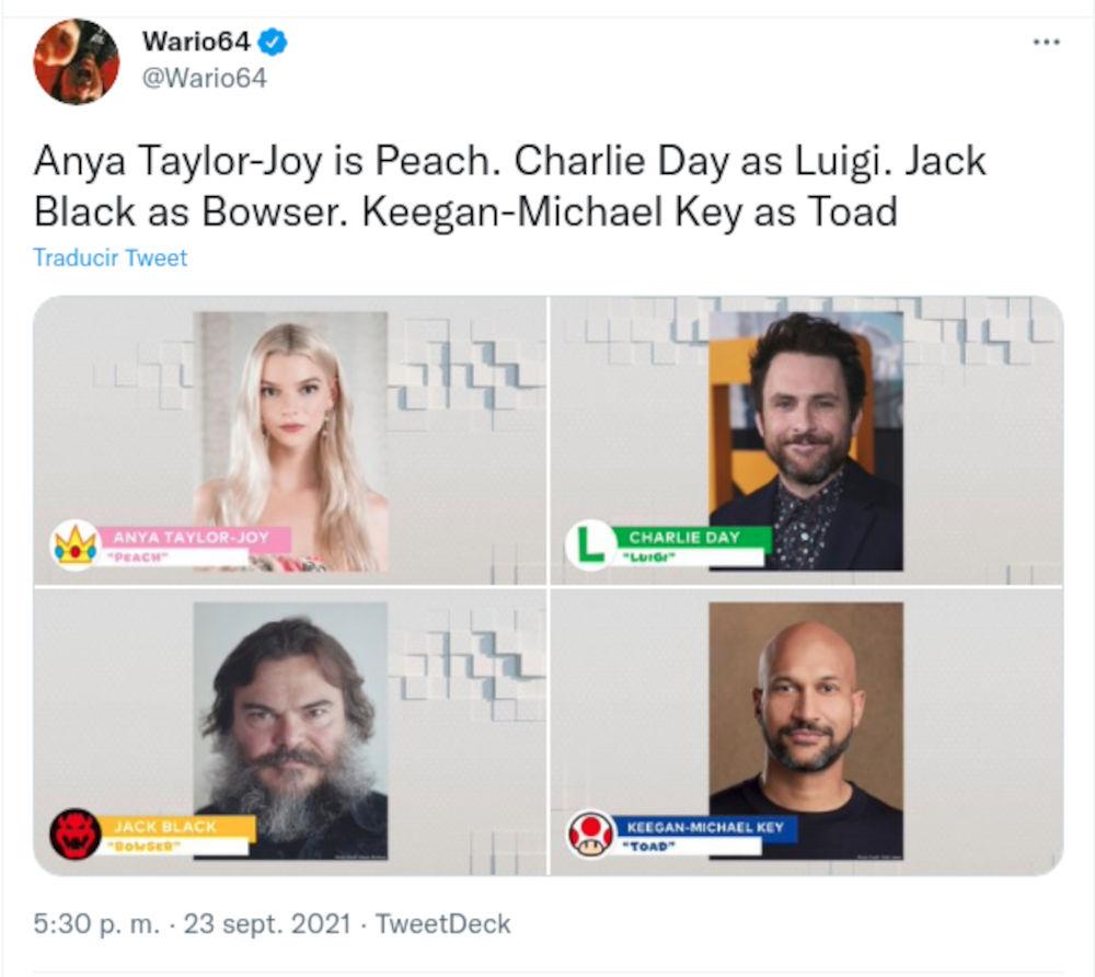 La película de Super Mario tendrá a Chris Pratt y Anya Taylor-Joy