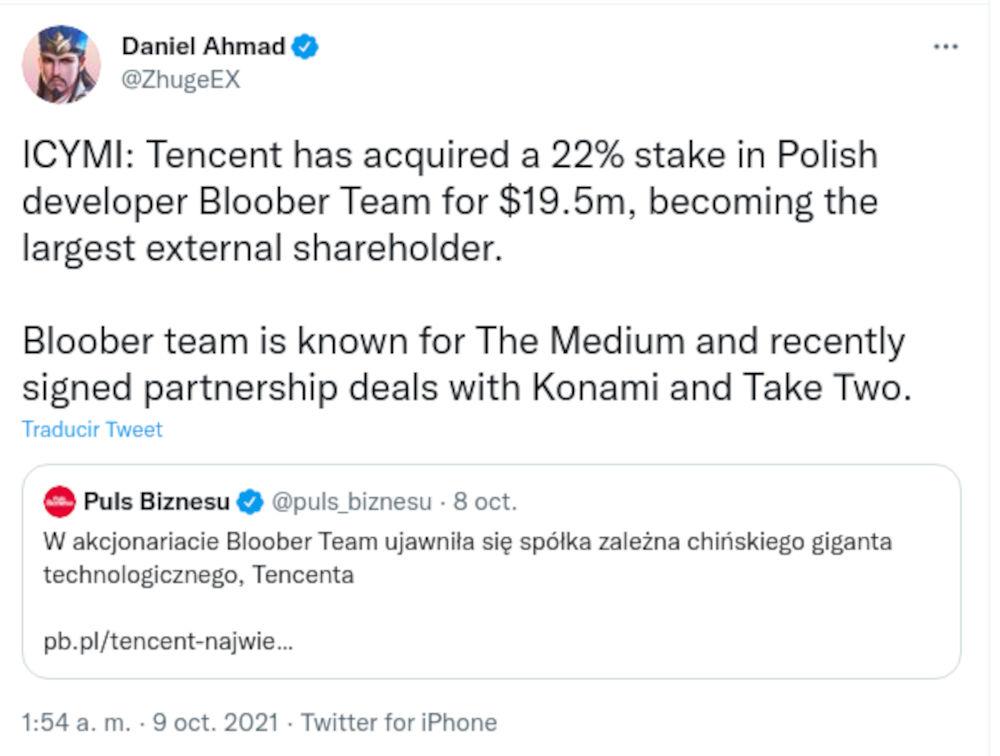 Bloober Team, el estudio de The Medium, es respaldado por Tencent