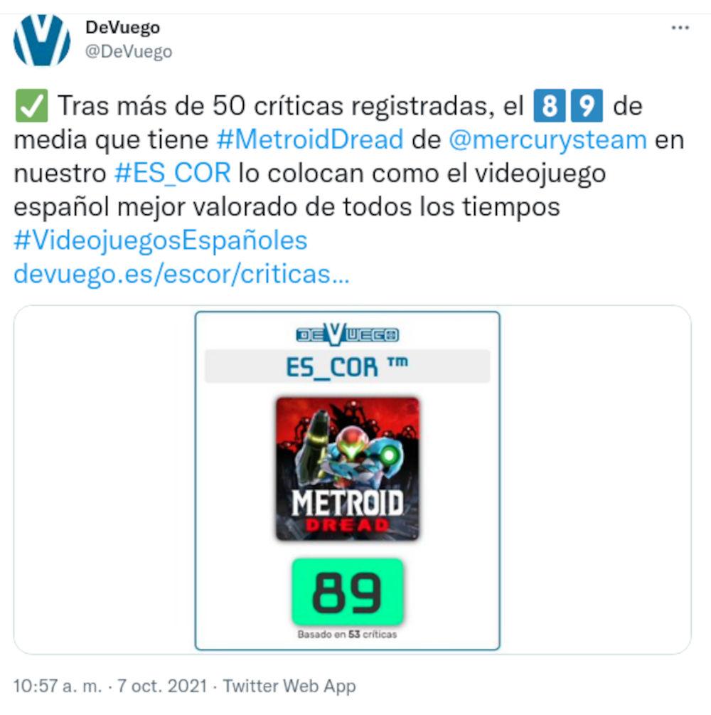 Metroid Dread es el juego español mejor calificado